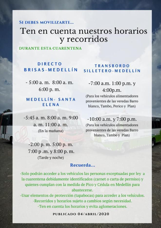 Buses de Santa Elena horario de cuarentena