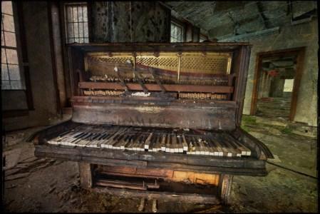 Old piano, texture overlay, derelict Talgarth Asylum, Wales, UK