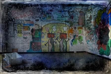 Strange grafitti, derelict Hellingly Asylum, West Sussex, UK