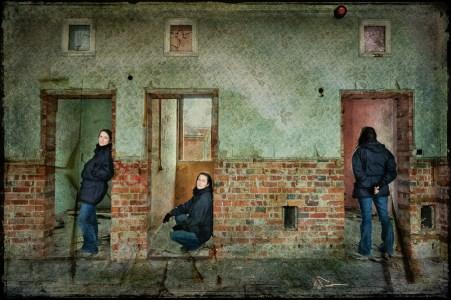 Mulitplicity self portrait, derelict Hellingly Asylum, West Sussex