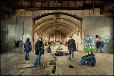 Multiplicity portrait on the stage in the hall, with street art, derelict Hellingly Asylum, West Sussex
