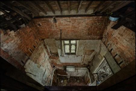Collapsed floors, derelict Manor House 'B', Norfolk, UK