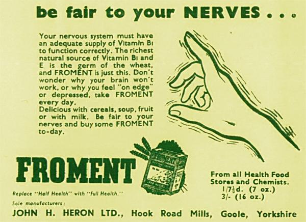 John Heron, président de la Société végane en 1955, provoque des carences en vitamine B12 par son article et prétend guérir des symtômes neurologiques avec son produit commercial