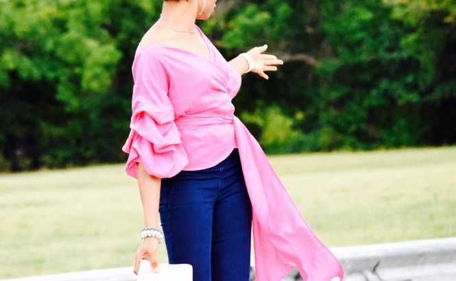 Pink Ruched sleeves