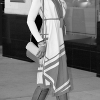 Wrap dress + Knee-high boots for Fall