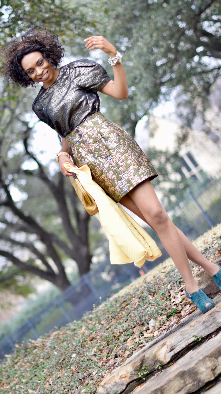 Florals + Brocade + Yellow Blazer + Metallics + Giveaway