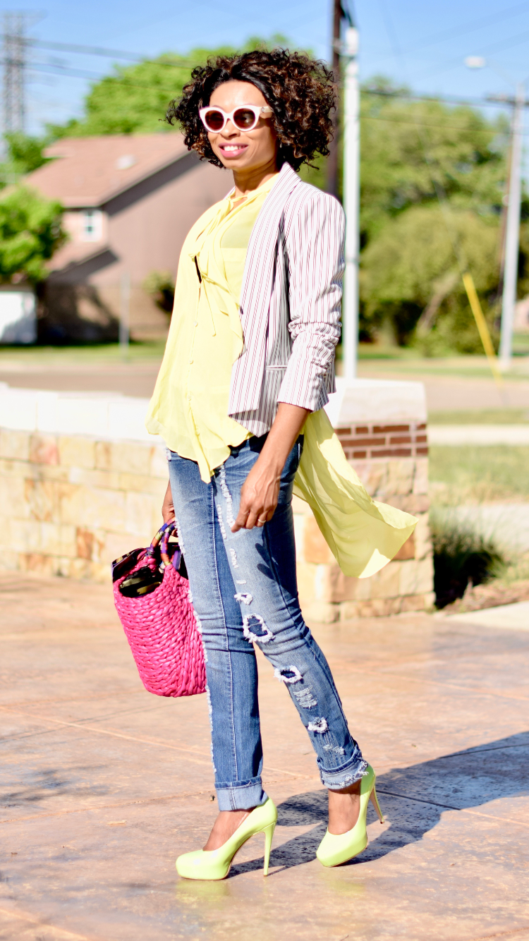 Ripped Jeans + Straw Tote + Striped Blazer