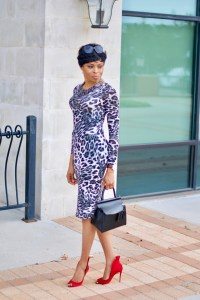Animal Print body con holiday party wear