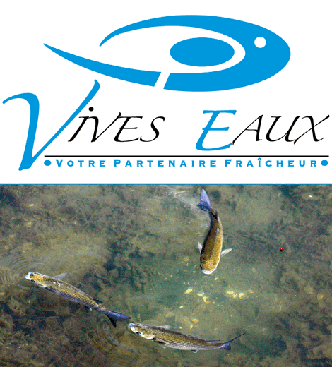 Logo Vives Eaux Votre partenaire fraîcheur trois poissons dans l'eau