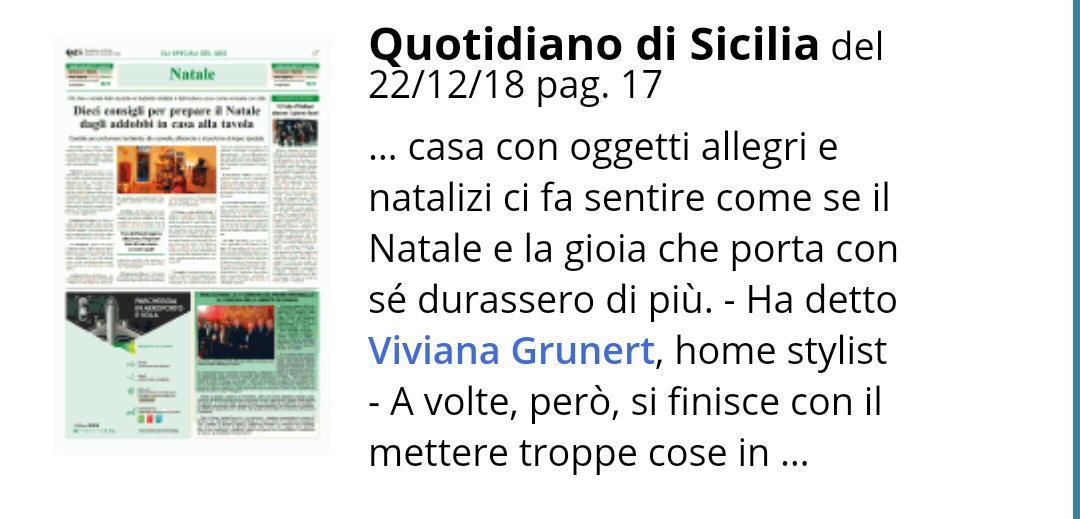 Intervista - Il Quotidiano di Sicilia – 22 Dicembre 2018