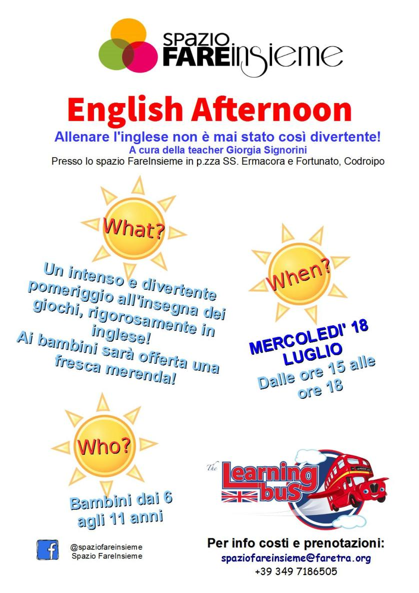 English Afternoon 18.07 18.07.2018   Inglese per bambini in piazzetta a Codroipo