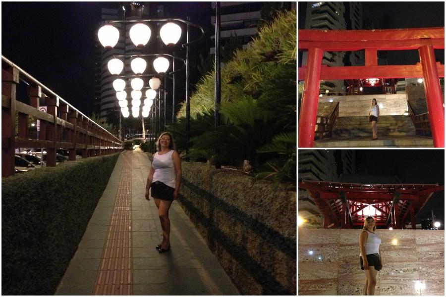 Fortaleza noite Jardim japonês