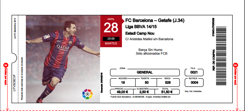 Ingresso futebol Barcelona