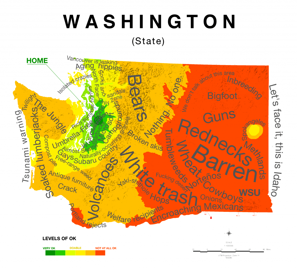 Map Of Washington State Stereotypes According To Those In