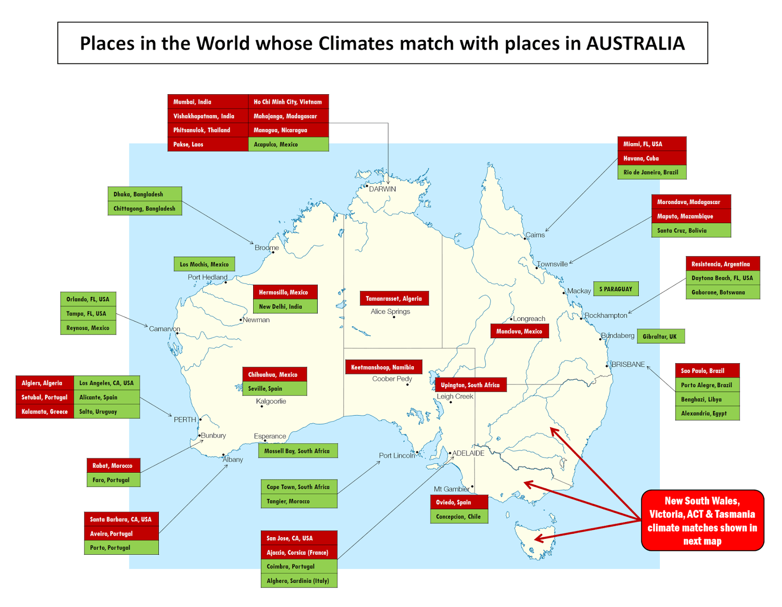 Places In The World Whose Climates Match With Places In