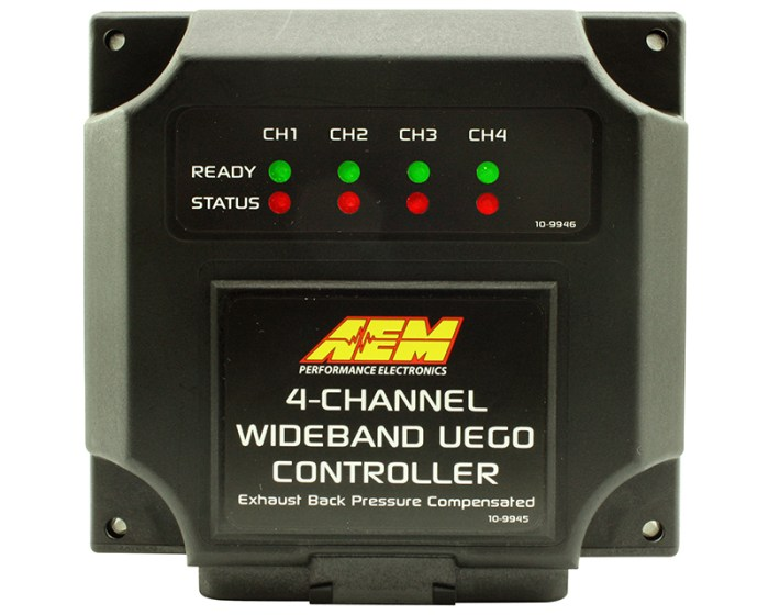 AEM's 4-Channel Wideband Air/Fuel UEGO Controller (PN#30-2340-N) allows users to simultaneously monitor individual cylinder Air/Fuel Ratios (AFR) on up to four cylinders, and can monitor up to 8 individual cylinders with the addition of a second unit (up to 16 cylinders with four controllers). The AEM 4-Channel Wideband Air/Fuel UEGO Controller can increase both engine performance and reliability. It is the most affordable multi-channel air/fuel controller available, and is a must for anyone using an engine management system or data logger to monitor and/or tune individual cylinder AFR.  UNMATCHED CONTENT AND ACCURACY  AEM has engineered several features into the 4-Channel Wideband UEGO Controller that provide unmatched accuracy and feature content:  Back Pressure Compensation for Accurate, Pre-Turbo, Individual-Runner AFR Readings Eliminate the need for averaged post-turbo AFR readings. Sensors can be mounted pre-turbo by using AEM's optional Exhaust Back Pressure Compensation Kit (PN#30-2064). This allows AEM's 4-Channel Wideband Air/Fuel UEGO Controller to deliver accurate AFR readings that are unaffected by pre-turbo back pressure.  Designed to Withstand Extreme Temperatures  AEM's 4-Channel Wideband Air/Fuel UEGO Controller uses specially-designed, stainless-steel sensor mounting bungs that help the sensors withstand the extreme temperatures of pre-turbo exhaust ports. The fins of the bung reduce the temperature of the sensor body to extend its life, and the extended bung length allows only the sensor tip to protrude into the exhaust flow to minimize flow restriction.  CAN bus or Analog Outputs for Data Logging  AEM's 4-Channel Wideband Air/Fuel UEGO Controller can be integrated with almost any data logger or engine management system through 4 unique differential analog outputs or the AEMnet CAN bus datastream output. The CAN bus datastream output is compatible with most programmable ECUs, data loggers, dashes and dyno systems, and provides users with the abili