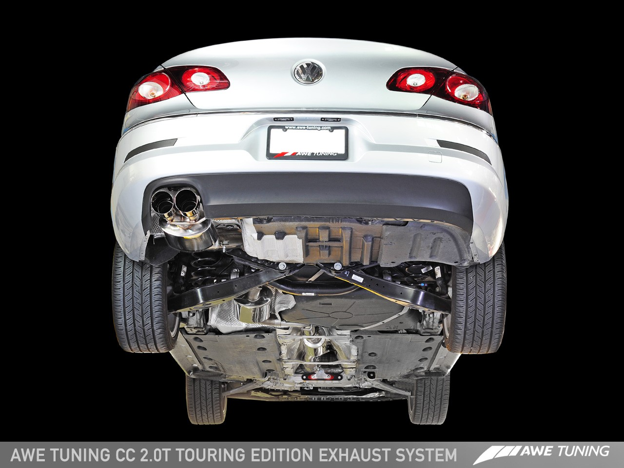 awe tuning touring edition performance exhaust system w diamond black tips volkswagen cc 09 17
