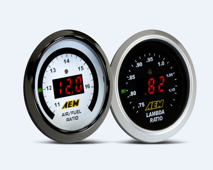 Our World-famous Wideband O2 air/fuel ratio UEGO gauge features a digital LED display and sweeping LED 'needle' that changes colors as AFR changes from rich to lean. A 52mm (2-1/16