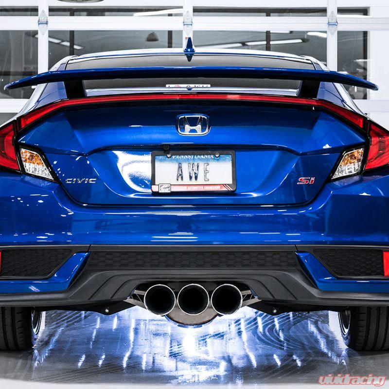 awe touring edition exhaust with front pipe triple diamond black tips honda civic si 17 20