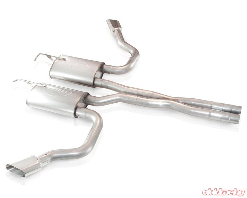stainless works 2 5in true dual side exit catback exhaust with x pipe oval tips dodge challenger 08 14