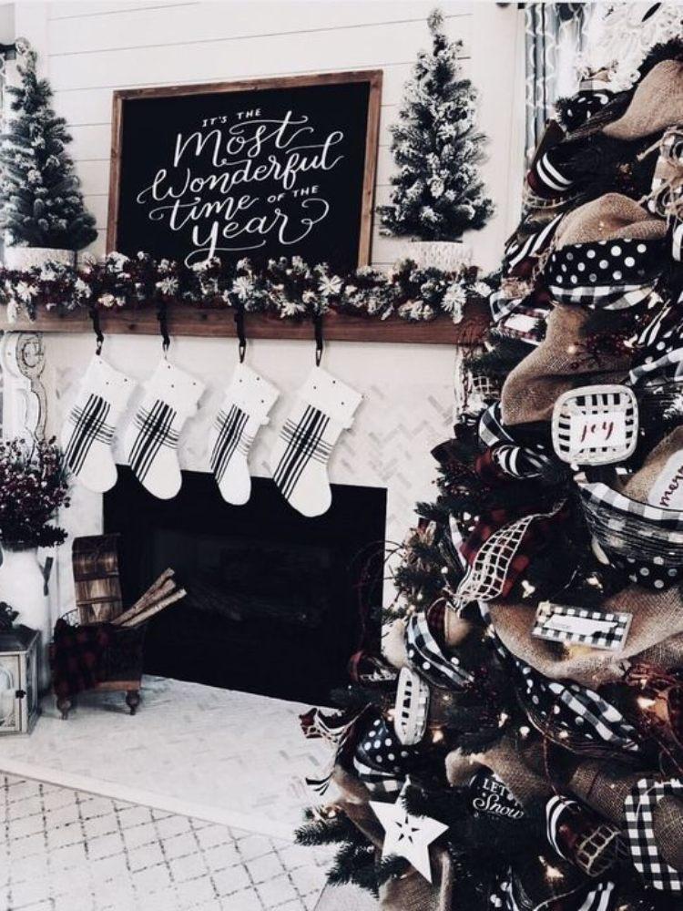 decoracion de navidad blanco y negro