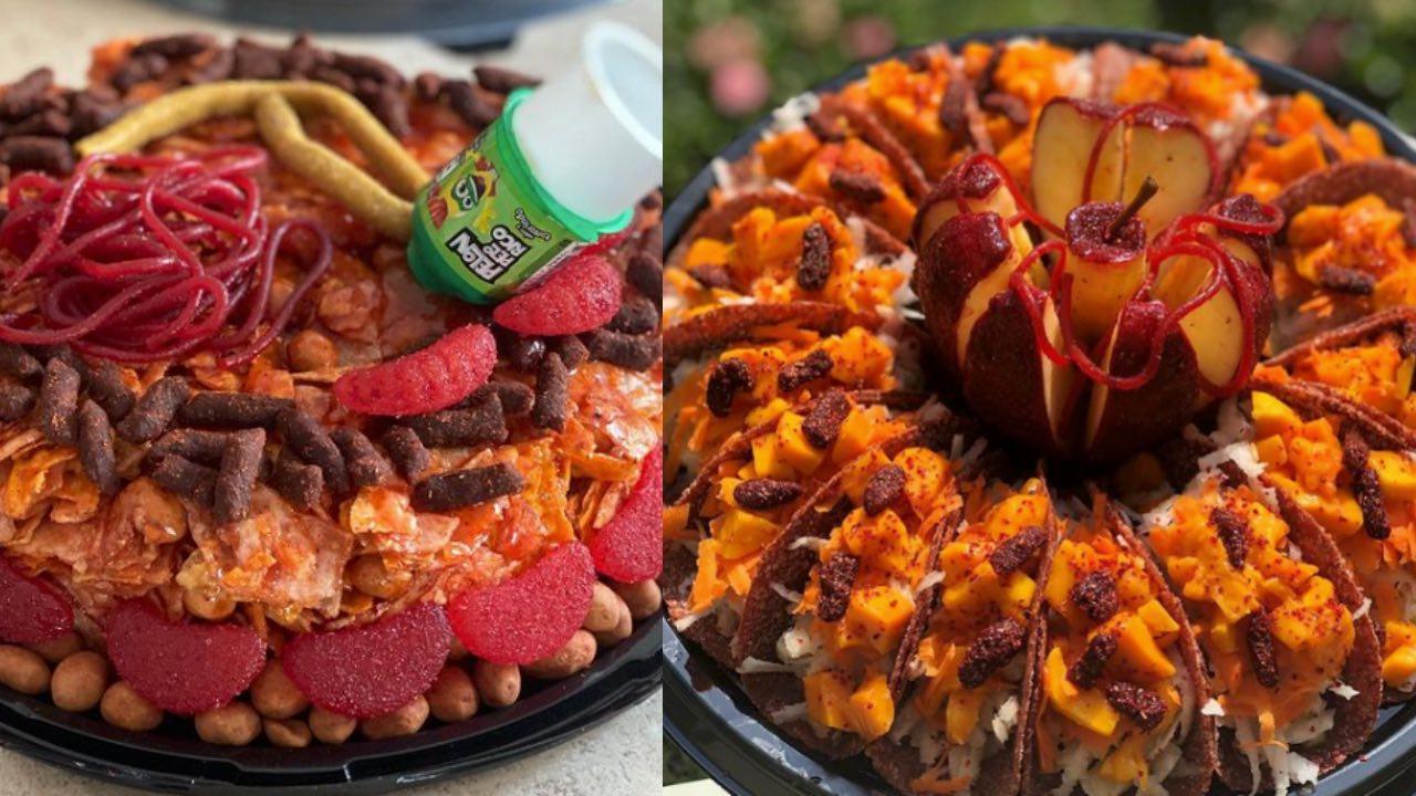 como hacer rosca de frutas con chamoy