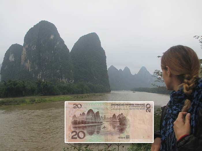Montañas de Xing Ping en los billetes de 20 yuanes