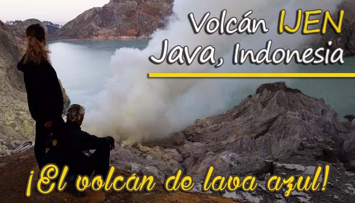 IJEN el volcán de lava azul en Java, Indonesia