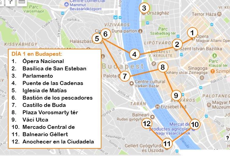 mapa budapest día 1 Viviendoporlemundo