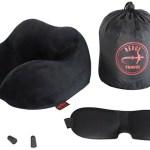 Almohada de viaje cervical de espuma de memória viscoelástica - Kit con Antifaz ajustable + Tapones aislantes para dormir