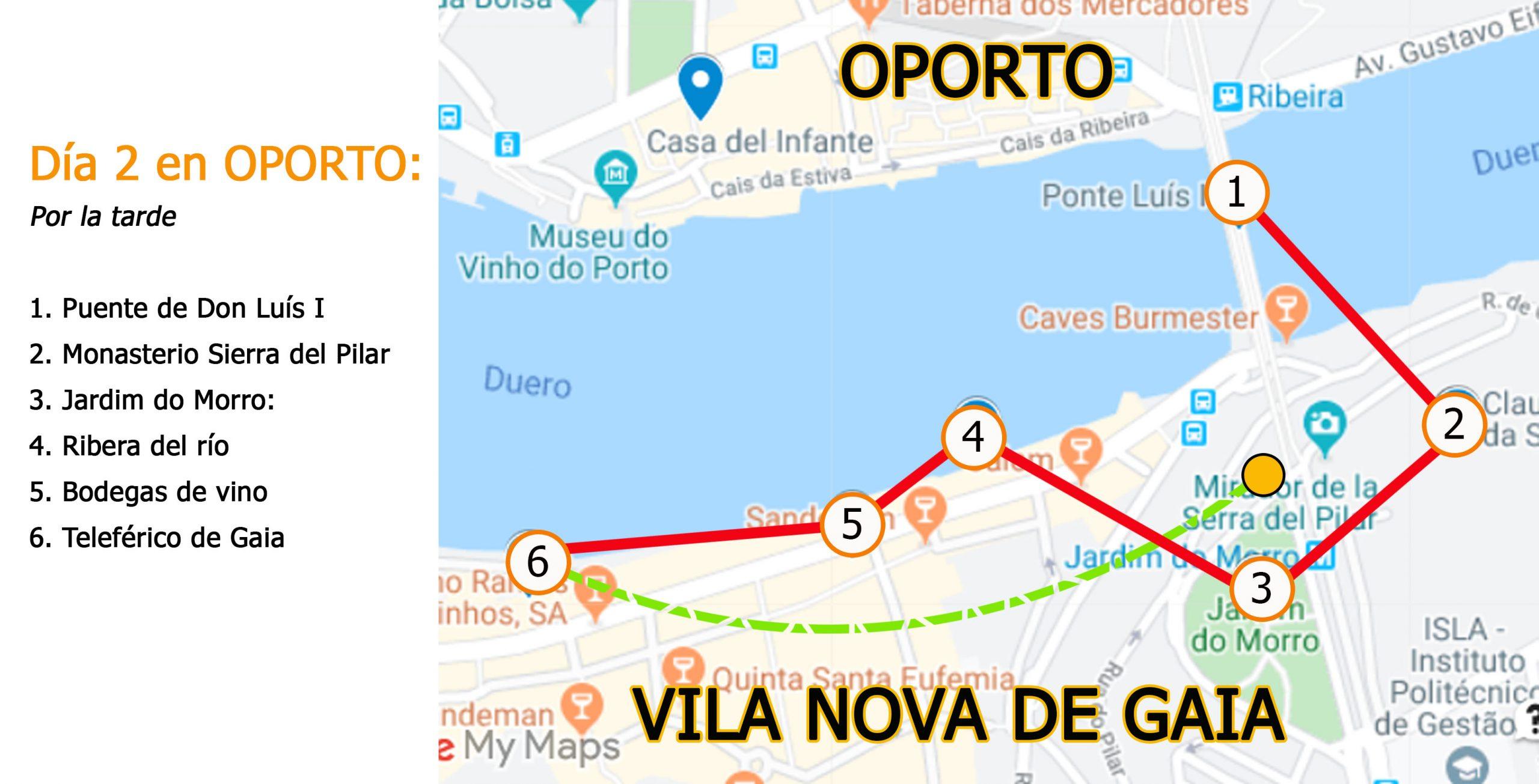 Mapa dia 2 POR LA TARDE en Oporto Viviendoporelmundo