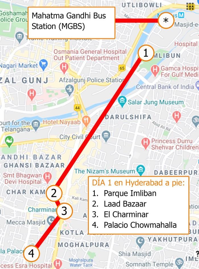 Mapa 2 un día en Hyderabad a pie por viviendoporelmundo
