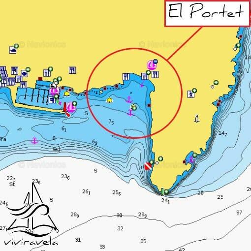 Navegar entre Xàbia y Moraira. Carta Náutica Playa El Portet Moraira