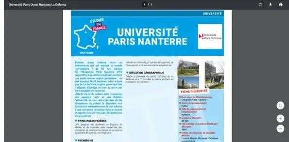 información de cada programa de estudio en francia