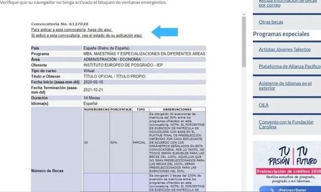 Indicación para diligenciar formulario de aplicación