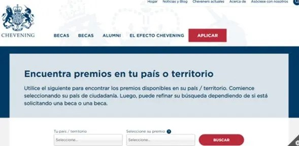 pagina oficial de la beca chevening