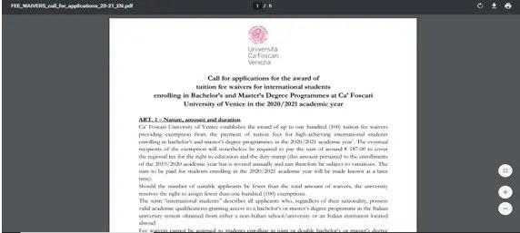 como aplicar a las becas de las universidades de italia