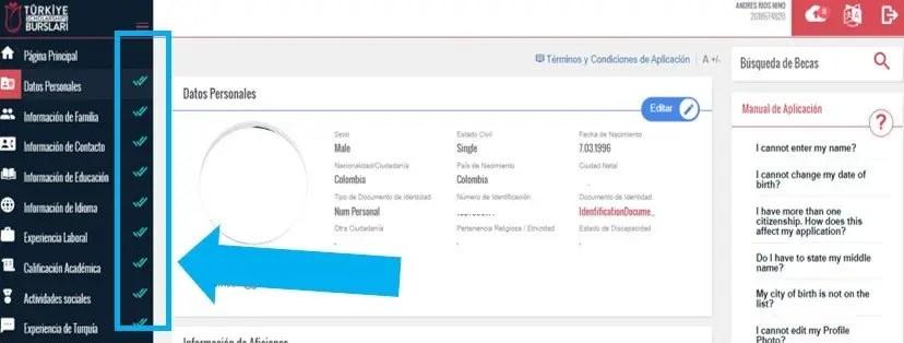 subir documentacion solicitada para aplicacion beca turquia
