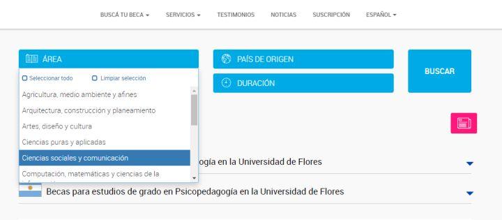 Ejemplo de filtración de las 110 becas para estudiar en Argentina