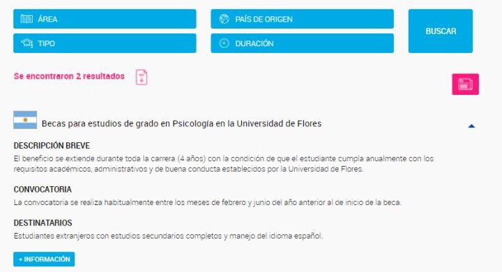 Ejemplo de búsqueda de becas en Psicología en Argentina.