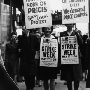 SD_WLHP_MM1_016  Picketers including from the B.C. Housewives Consumers Association, during a Buyers Strike, May 17th-24th [year unknown]. Courtesy of May Martin.