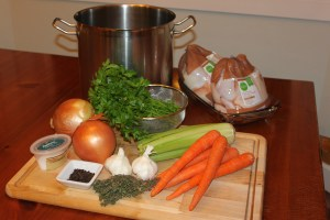 Homemade chicken broth ingredients