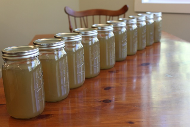 Mason jars filled with homemade chicken broth