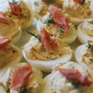 Smoked Salmon and Cream Cheese Deviled Eggs