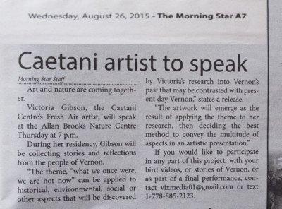 Artist Resident Talk in the Vernon Morning Star