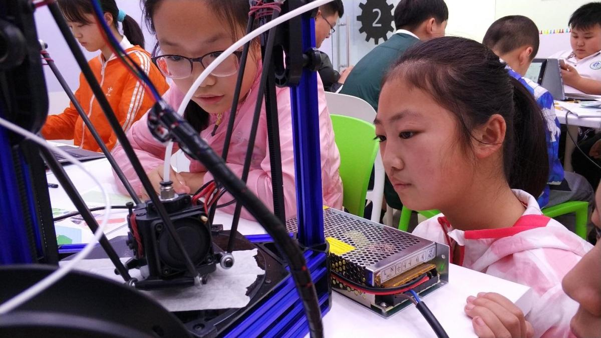 Students from Shandong, China attending the 3D Printing for Kids course