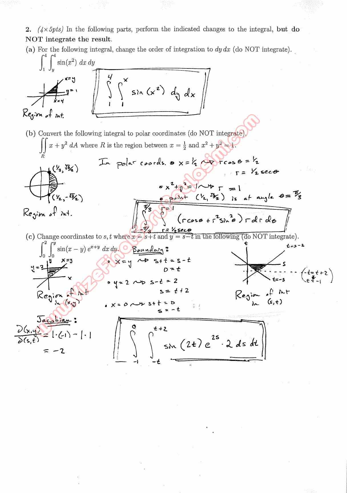 Calculus For Functions Of Several Variables Second Midterm Exam Questions And Solutions Fall