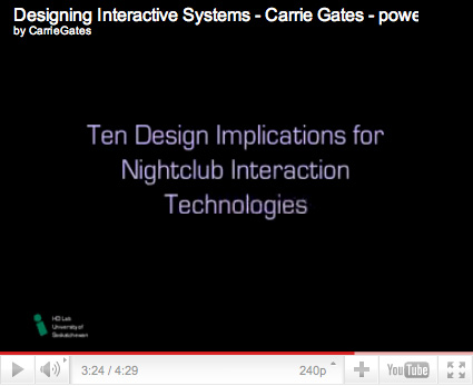 Presentation Slide from Designing Interactive Systems - DJ Audience Interaction in Nightclubs - Carrie Gates 2006