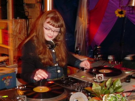 Carrie Gates DJing at the Connect Festival Chill Stage on Saturday Night