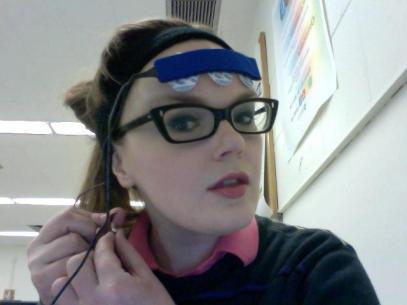 Carrie Gates with IBVA Brainwave Reader Headset